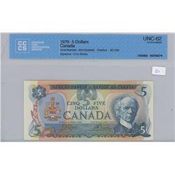 1979 - $5.00 Bill - MS62 - CCCS Graded