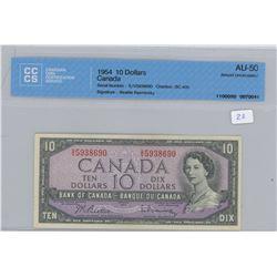 1954 - $10.00 Bill - AU50 - CCCS Graded
