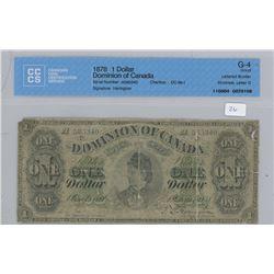 1878 - $1.00 - G4 - RARE - CCCS Graded