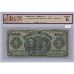 1911 - $1.00 Bill - VG8 - BCS Graded