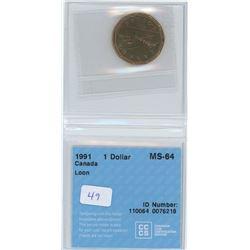 1991 - $1.00 - MS64 - CCCS
