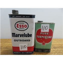 One quart Esso Marvelube outboard oil can 1 pint four star turpentine can