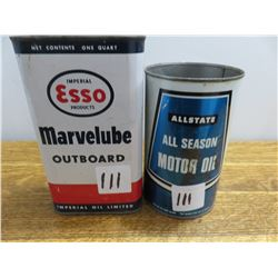 1 quart Esso Marvelube outboard oil can and Allstate quart can from Simpson Sears