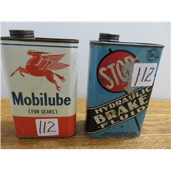 One U.S. qt. Mobilube gear oil can & 1 US quart 'whiz' brake fluid stop can