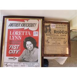 """Loretta Lynn adv. Posted of rodeo 13 x 7"""" from the sixties"""