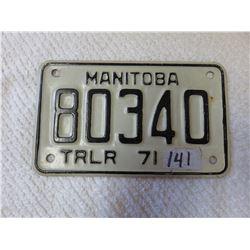 1971 Manitoba trailer plate