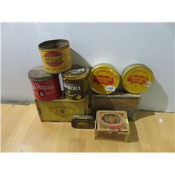 Tobacco cans and cigar boxes