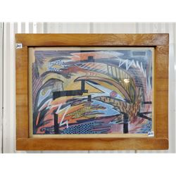 "1975 original abstract art by Marion McCauly 25""X19"" pastel on paper wood framed under glass"
