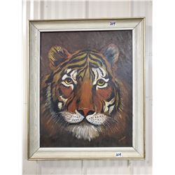 "1952 original oil painting 'tiger' by F. Kelly wood framed 19"" X 23"""