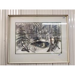 "1982 original ink on paper by Betty McGaughey under glass 24"" X 29"""