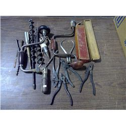 Lot of Vintage Tools - Bits, HandDrills, Pliers. Saw Blades, Etc.