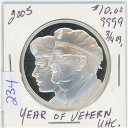 2005 - $10.00 Year of the Veteran - Silver