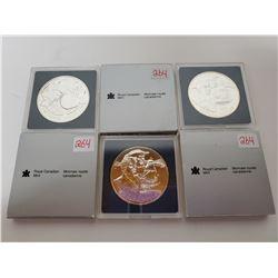 2 x 1995 & 1 1996 B.U. Canadian silver dollars