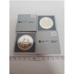 1989 & 1988 B.U. Canadian silver dollars