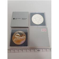 1986 & 1982 B.U. Canadian silver dollars