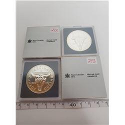 1982 X 2 B.U. Canadian silver dollars