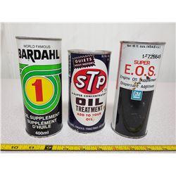 3 vintage oil additive cans