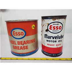 5lb Esso grease can & Imperial/Esso qt. can