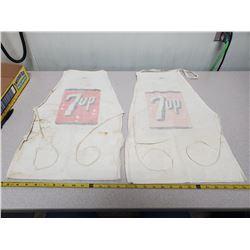 2 vintage 7-UP aprons