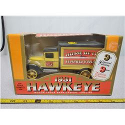 1931 Hawkeye die cast coin bank (new in box)