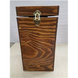 Wooden Box & Coleman Kerosene Lantern