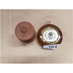 Barometer & Wooden Vase