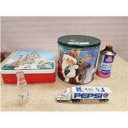 Lot 3 Tins & Pepsi Collectibles