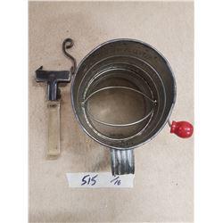 Vintage Sifter & Pyrex Pot Holder