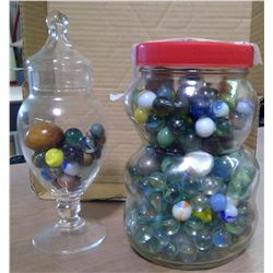 Lot of 2 Glass Jars of Marbles
