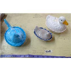 3 Bird Dishes