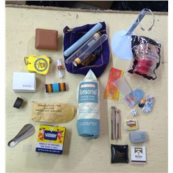 Lot of Misc. - Clothes Clips, Empty Asprin Tin, Toys, Etc.