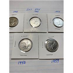 Canada 25¢ quarters, 1941, 43, 50, 52 King George, 1959 Queen Elizabeth II