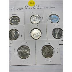 1967 (1867) 8 Canada centennial 25¢ 25 cent quarters
