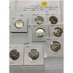 8 Canada 25¢ twenty five cent pieces, 1-1966, 5-1968, 2-1969