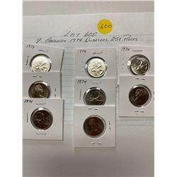 1974 Canada 25¢ twenty five cent pieces, 8 coins