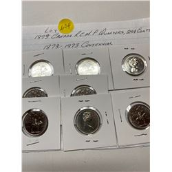 1973 RCMP quarters, 25¢ twenty five cent piece, 8 coins