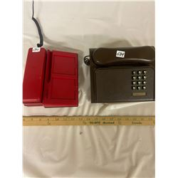 2 Vintage Telephones - Red & Brown