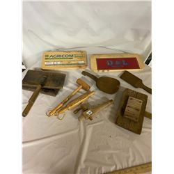 Lot of Wooden Butter Paddles & Wool Carders