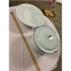Large Enamel Pot Lid & Porcelain Wash Basin