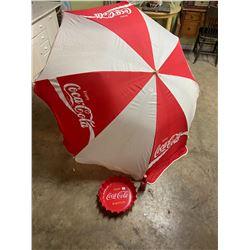 Large Coca-Cola Umbrella & Plastic Coke Tray & Bottle