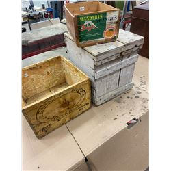3 Wood Boxes -Butter , Egg Crate, Orange Box