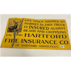 """Hart Ford Fire Insurance Sign - 19.5"""" x 11"""""""