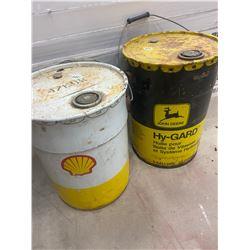 2 - 5 Gallon Oil Pails - John Deere & Shell Oil