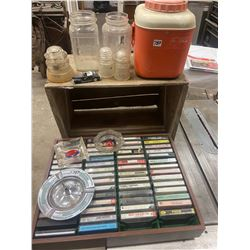 Lot of Wood Crate, Cassettes, Nabob Jars, see More…