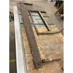 2-Man Saw & Primitive Back Saw - as is Condition