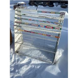 "gum and candy bar display rack, metal 52""h x 48""w"