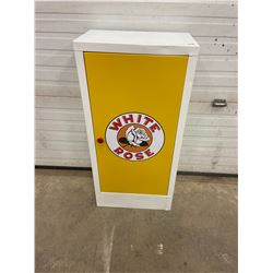 """shop cabinet, refurbished to white rose 39""""t x 19""""w x 11""""d"""