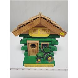 "John Deere bird house, handcrafted ""little log"", Nebraska"