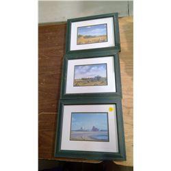 """3 Framed Sharon Larson Prints (12""""x10"""")"""