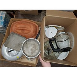 TWO BOXES OF KITCHENWARE (BOWLS, TRAYS, DISHES)